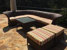 Patio cushions covered with Sunbrella fabric