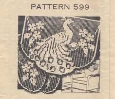 Peacock Chair Set Crochet Pattern, via Etsy.