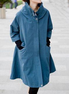 Breathing wind /spring hooded Coat /Splicing Threaded sleeve hooded windbreaker. $139.00, via Etsy.