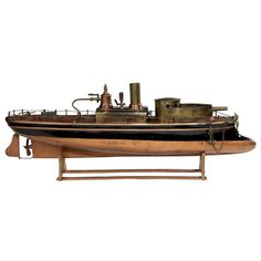 """French steam-powered toy gunboat by Radiguet,  c. 1890   20""""L"""