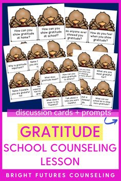 If you've been looking for gratitude school counseling activities, this gratitude activity for kids is perfect to add to your counseling curriculum lesson plans for Thanksgiving! This gratitude lesson for kids includes 20 gratitude discussion cards for kids, plus a dice game with fun icebreakers. Click for more details about this gratitude lesson for kids and see how you can incorporate it into your school counseling curriculum! Group Counseling, Counseling Activities, School Counseling, Activities For Kids, Character Education Lessons, Fun Icebreakers, Lessons For Kids, Kids Cards, Dice
