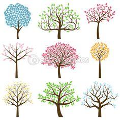 Vektor-Sammlung von stilisierten Baum Silhouetten — Stockillustration #27835285