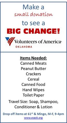 Make a small donation to see a BIG CHANGE! Volunteers of America Oklahoma Helping America's most vulnerable.