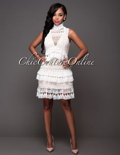 Chic Couture Online - Damaris Off-White Crochet Lace Nude Tier Luxe Dress.(http://www.chiccoutureonline.com/damaris-off-white-crochet-lace-nude-tier-luxe-dress/)