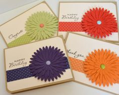 Daisy birthday thank you congrats handmade card set by Paperdipity, $14.00