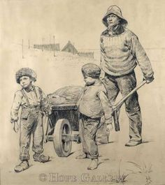 Erik Henningsen (1855-1930): Working with Dad, drawing,