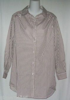 Boy Friend Big Shirt Size Small Brown White Stripe Big Shirt Top New free shipping
