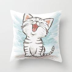 American Shorthair cat Throw Pillow by Toru Sanogawa - $20.00