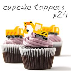 ❤ 24 STAND UP Edible Cup Cake Toppers | Construction Digger and Tipper ❤ on eBay!