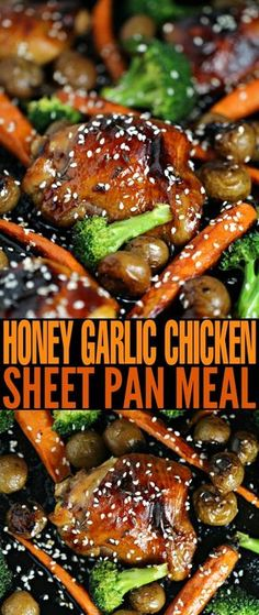 Honey Garlic Chicken Sheet Pan Meal This is the easiest recipe for honey garlic chicken ever. This Honey Garlic Chicken Sheet Pan Meal is complete with sides of carrots, broccoli and baby potatoes. It's full of flavour, quick and easy, Pan Comido, Recipe Sheets, Sheet Pan Suppers, Honey Garlic Chicken, Angel Chicken, Korean Chicken, Broccoli Chicken, Garlic Chicken Recipes, Entrees