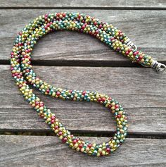 Kumihimo Jewel Tones Beaded Necklace by ChuraumiSeaGlass on Etsy, $25.00