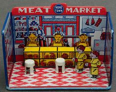 1920s Marx Tin Litho Home Town Meat Market w Box Accessories