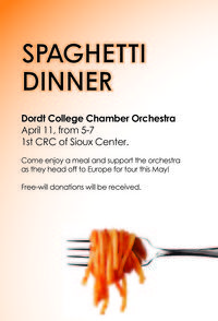 Come enjoy an Italian classic – spaghetti – to help the Dordt College Chamber Orchestra raise money for its musical tour through Europe in May. Fundraising Ideas, Fundraising Events, Dance Marathon, Pancake Breakfast, Spaghetti Dinner, Relay For Life, Fundraisers, Classic Italian, Bake Sale