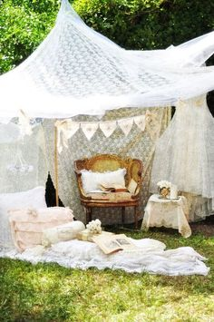 garden party - thinking bamboo and yards upon yards of tulle n lacey fabric, set up a nice little garden canopy