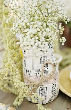 Cheap Wedding Table Centerpiece Ideas - Put the Ring on It Music Centerpieces, Wedding Shower Centerpieces, Wedding Table Themes, Flower Centerpieces, Centerpiece Ideas, Bottle Centerpieces, Reception Decorations, Vases, Wedding Decor