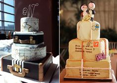 Billet d'avion comme invitations, planisphères, valises pour la décoration, de nombreux éléments peuvent se décliner pour un mariage sur le thème voyage ...