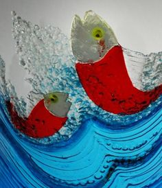 Gotta make some glass fish! ~Fish by David Hobday at Seaview Gallery- Australian Contemporary Art Glass Wall Art, Fused Glass Art, Stained Glass Art, Mosaic Art, Mosaic Glass, Mosaics, Fish Fish, Fish Art, Glass Animals