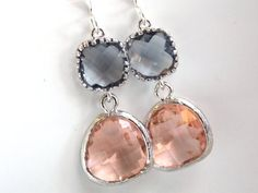Glass Earrings, Peach Earrings, Gray Earrings Silver Grey, Dangle, Drop, Champage, Wedding Bridesmaid Earrings, Bridal, Bridesmaid Gift