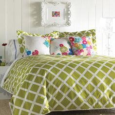 Kew Duvet Set in Green. Love the pillows, and especially the frame on the wall- except I'd paint it red :)