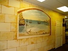 Wall Mural And Stone Finish Made For A Pharmacy Hallway.