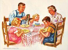 """Vintage Schoolbook illustration """"We Read Pictures"""" Dick Jane and Sally Vintage School, Vintage Farm, Vintage Children's Books, Vintage Artwork, Vintage Images, Vintage Humor, Vintage Ephemera, Vintage Stuff, Vintage Pictures"""