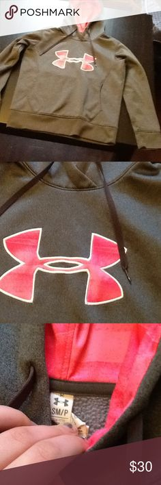 Under Armour sweatshirt grey with hot pink Good condition, slight stain on sleeve as shown in picture. Really soft and warm. Under Armour Sweaters Crew & Scoop Necks