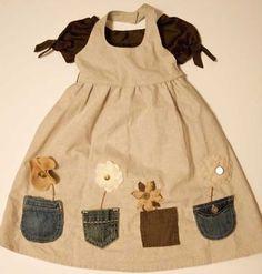 Cepli bahçıvan tarzında kolay kız çocuk elbise dikimi modeli Little Girl Dresses, Little Girls, Girls Dresses, Summer Dresses, Sewing Clothes, Children, Pocket, Clothing, Fashion
