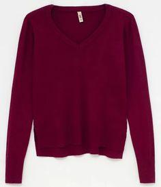 Blusa em Tricôcom Fenda Básica BORDO Ideias Fashion, Sweaters, Blue Brown, Neckline, Black, Women's, Pullover, Sweater, Sweatshirts