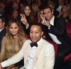"Sinatra 100 — An All-Star GRAMMY Concert Backstage - Chrissy Teigen, John Legend, Katharine McPhee, And Adam Levine  - Chrissy Teigen and John Legend (front) and Katharine McPhee and Adam Levine (rear) attend the taping of ""Sinatra 100 — An All-Star GRAMMY Concert"" on Dec. 2 in Las Vegas."