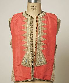 Vest Date: century Culture: Tunisian Medium: cotton Credit Line: Gift of Mrs. Van S. Indian Attire, Indian Wear, Abaya Mode, Vintage Outfits, Vintage Clothing, Satin Bridesmaid Dresses, Period Outfit, Folk Costume, Costumes