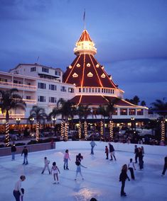 Ice skate just steps from one of the best beaches in San Diego during the holiday season at Hotel Del Coronado.