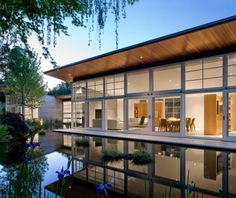 open structure operable windows outdoor pond landscape