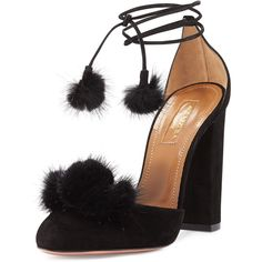 Aquazzura Wild Russian Mink Fur Pump ($950) ❤ liked on Polyvore featuring shoes, pumps, heels, urban grey, block heel pumps, block heel shoes, ankle strap pumps, grey high heel pumps and gray shoes