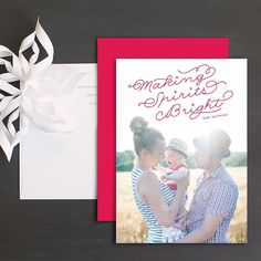 Festive Lettering Holidy Photo Cards by Hooray Creative Wedding Stationery, Wedding Invitations, Christmas Photo Cards, Picture Poses, Great Pictures, Cool Patterns, Bold Colors, Save The Date, Festive