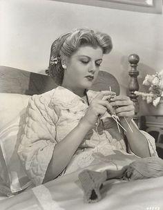 Angela Lansbury, knitting socks in bed