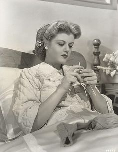 Angela Lansbury, knitting socks in bed