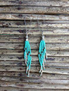 Long Turquoise Seed Bead Earrings on Etsy, $30.00
