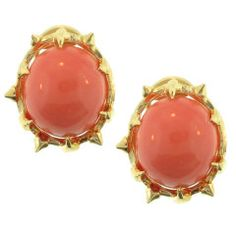 SCHLUMBERGER Coral Yellow Gold Earrings