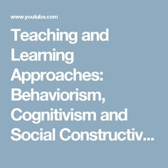 Teaching and Learning Approaches: Behaviorism (Skinner), Cognitivism (Piaget) and Social Constructivism (Vygotsky) Help us caption & translate this video! Social Constructivism Vygotsky, Learning Theory, Teaching, Youtube, Education, Youtubers, Youtube Movies, Onderwijs, Learning