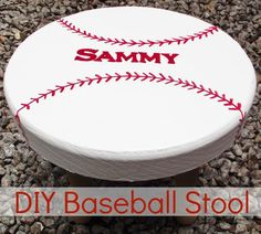 DIY Baseball Stool - could match a vintage sports theme if it was a little distressed too!