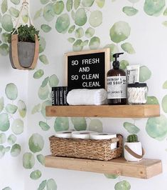 Love these bathroom floating shelves!
