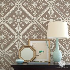 Imagine yourself on a Greek Island as you stencil our Grecian Tile Damask Wall Stencil in your favorite space of relaxation. A geometric and art deco pattern consisting of quilt-like designs, this All