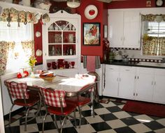 Kitchen Liances With Red Mat Retro