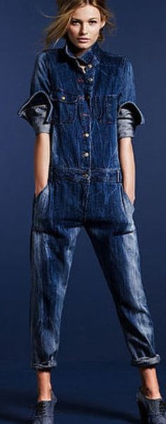 O is for...Denim Onesie. Did that just say denim onesie...wait one minute I've just got to go buy something.  #denimdaze #boohoo Beauty And Fashion, Look Fashion, Womens Fashion, Fashion Photo, Jumpsuit Denim, Jumpsuit Outfit, Dungarees, Bib Overalls, Pull Bleu Marine