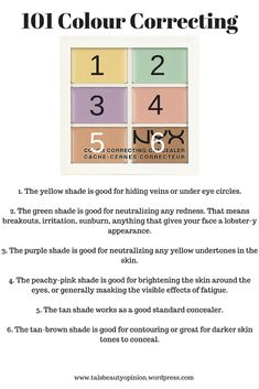 The Who, What, Where, Why and How of Colour Correcting! Colour Theory states that the opposite colour (complementary colours) will cancel out each other creating a natural shade With… - eye-makeup Color Correcting Guide, Color Correcting Concealer, Contour Makeup, Skin Makeup, Makeup Eyeshadow, Contouring, Natural Wedding Makeup, Makeup Guide, Beauty Makeup