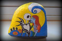 Jack y Sally - Ref 004. Piedra Pintada  / Painted Stone. Pesadilla antes de Navidad / The Nightmare Before Christmas.