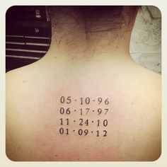 Tattoo....Kids birth dates tattoo... I'd like this smaller and someplace else