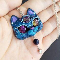 Custom Order For Christa *** Three Eye Space Star Kitty Cat OOAK Polymer Clay Pendant by FleurDeLapin on Etsy