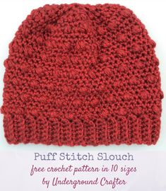 Free crochet pattern: Puff Stitch Slouch in 10 sizes in Premier Everyday Soft Worsted Heathers yarn by Underground Crafter | This slouchy beanie uses alternating puff stitches to add a bit of texture. The newborn size meets the donation requirements for Little Hats, Big Hearts, a program of the American Heart Association. #charity #undergroundcrafter #crochet #premieryarns via @ucrafter