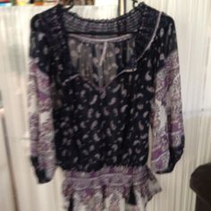 Chiffon Boho peplum top Navy and lavender paisley with peplum details and tie neck. NWOT. Just not for me. My loss your gain   Don't be shy offer Tops Tunics